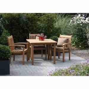 SET: Maxima tuintafel 103x103 cm + 3 st. Victoria stacking chair (stapelbare tuinstoel)