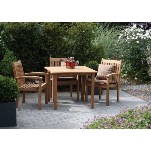 SET: Maxima tuintafel 103x103 cm + 3 st. Victoria stacking chair (stapelbare tuinstoel)