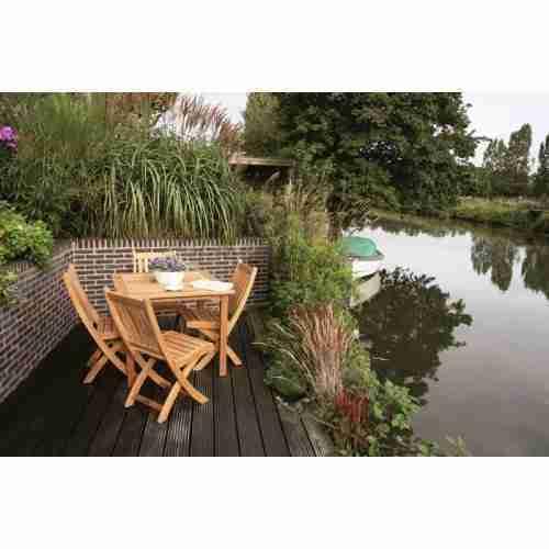 SET: Maxima tuintafel 103x103 cm + 4 st. Victoria folding chair (inklapbare tuinstoel)