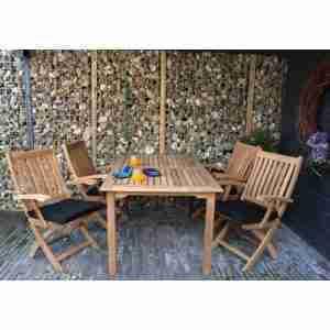 SET: Theodora table (tuintafel 150x90 cm) + 4 st. Victoria folding armchair (inklapbare tuinstoel)