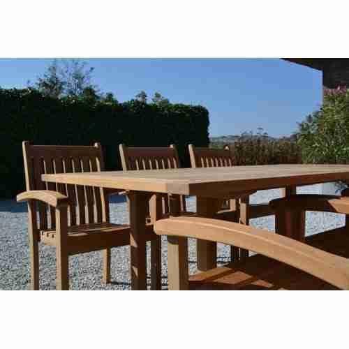 SET: Soraya table (tuintafel 200x100 cm) + 6 st. Victoria stacking chair (stapelbare tuinstoel)