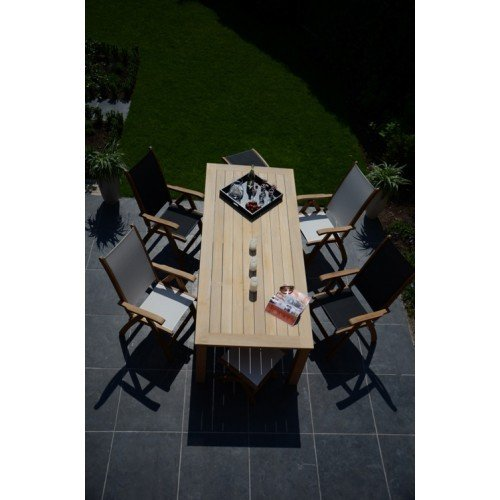 SET: Soraya table (tuintafel 200x100 cm) + 4 st. Kate recliner (ligstoel)