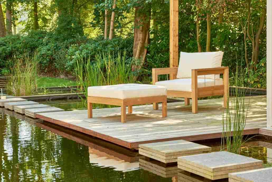 Maxima teakhouten loungestoel for Teakhouten tuinmeubelen