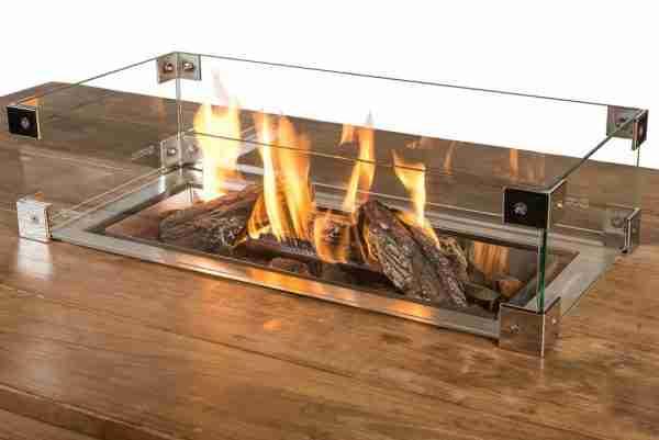 Glazen Ombouw Cocoon vuurtafel inbouwbrander Rechthoek 72x35x17cm