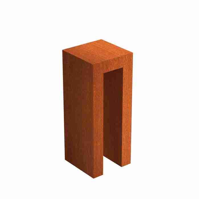 Cortenstaal-U-sokkel-zuil-Zitteninjetuin-40x40x100-cm